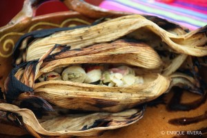 Tlapique de menudencias de pollo (Xochimilco).