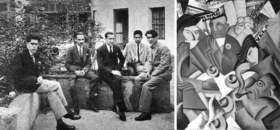El núcleo del grupo estridentista. De izq. a dcha., Germán List Arzubide, Ramón Alva de la Canal, Manuel Maples Arce, Leopoldo Méndez y Arqueles Vela (Xalapa, Veracruz, 1925).