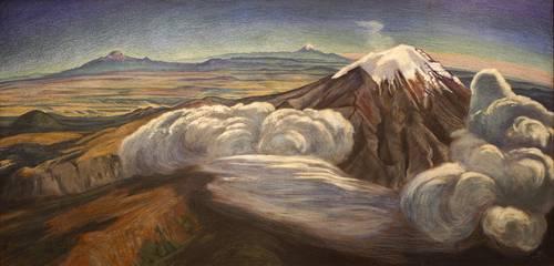 atl volcán y nubes